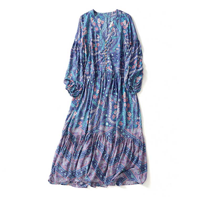 Women's Beautiful & Fun Long Blue Boho Flower Dress