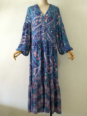 Women's Beautiful & Fun Long Blue Boho Flower Dress - Fashion-Beach.com