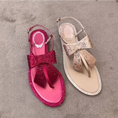 Women's Luxury Rhinestone Bow Flat Sandals - Fashion-Beach.com