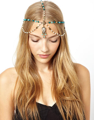 Women's Beautiful Beaded Tribal Tassel Chain Hair Headband - Fashion-Beach.com