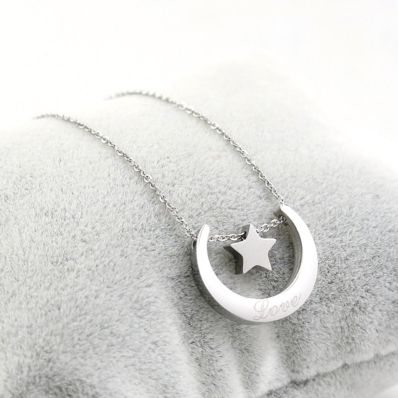 Women's Beautiful Moon and Star Love Minimalist Necklace - Fashion-Beach.com