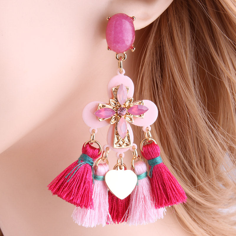 Women's Beautiful Boho Tassel Chandelier Earrings - Fashion-Beach.com