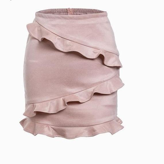 SALE Women's Sexy Faux Leather Suede Mini Skirt Ruffled Boho Short Fashion Pink Or Gray Skirt - FREE Shipping -  Fashion-Beach.com