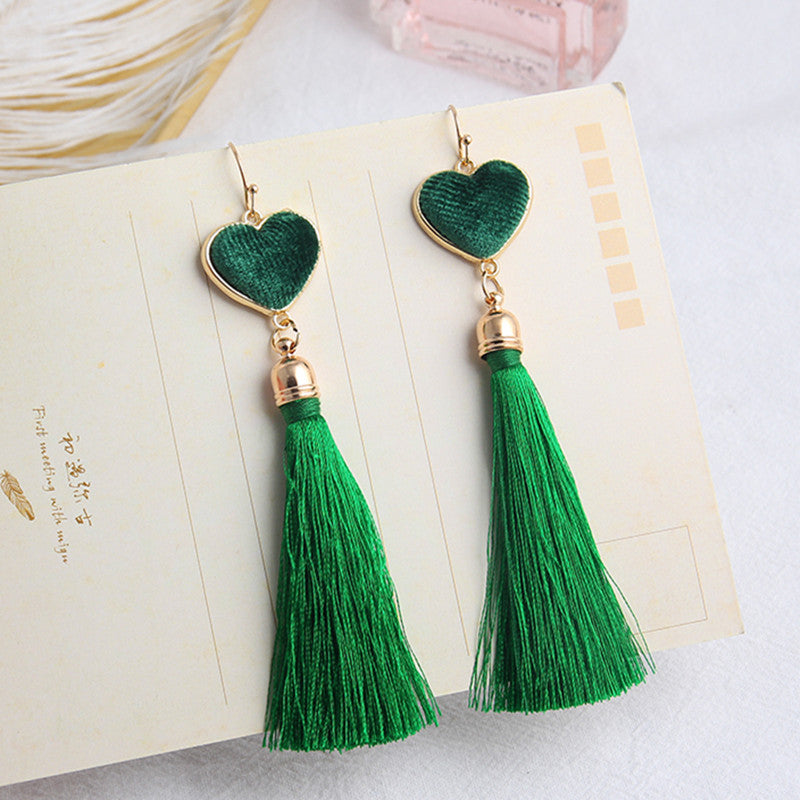 Fashion Long Thread Tassel Drop Dangle Earrings for Women Velvet Love Heart Design Fringe Hook Earring Jewelry Gift EC342 - Fashion-Beach.com