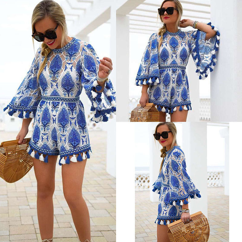SALE Women's Beautiful Blue Boho Chic Tassel Shorts Jumpsuit Bohemian Island Style Fringe White Onesie Open Back Romper - FREE Shipping - Fashion-Beach.com