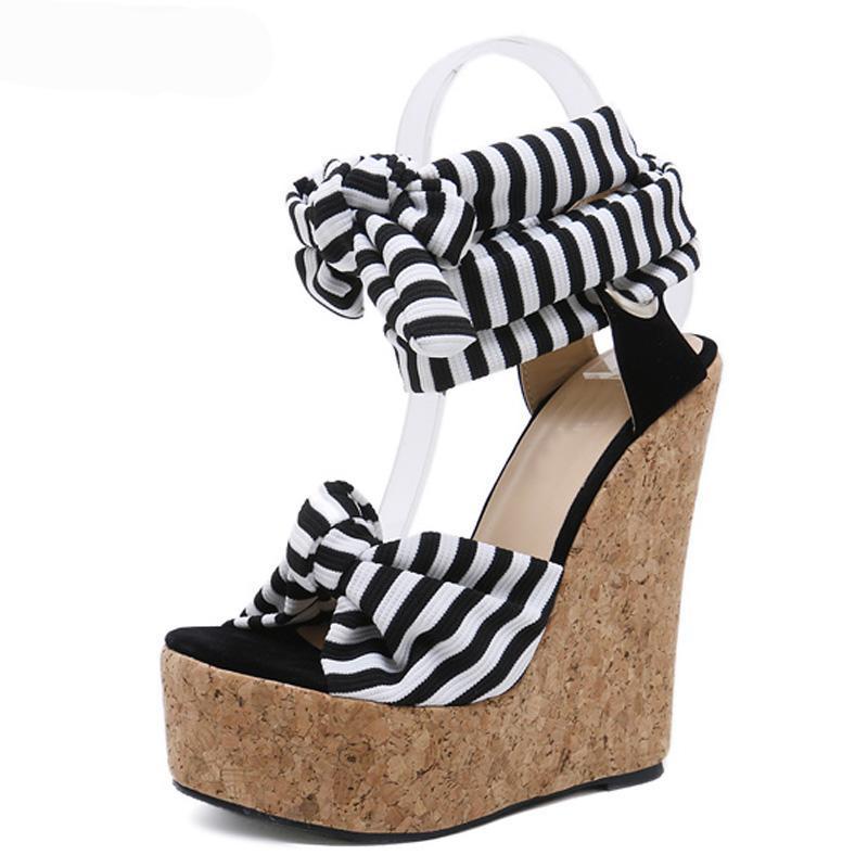 SALE Women's Beautiful Wedge Platform Island Sandals Nautical Stripe Gladiator Ankle Lace Up Wrap Black White Boho Chic Heels - FREE Shipping - Fashion-Beach.com