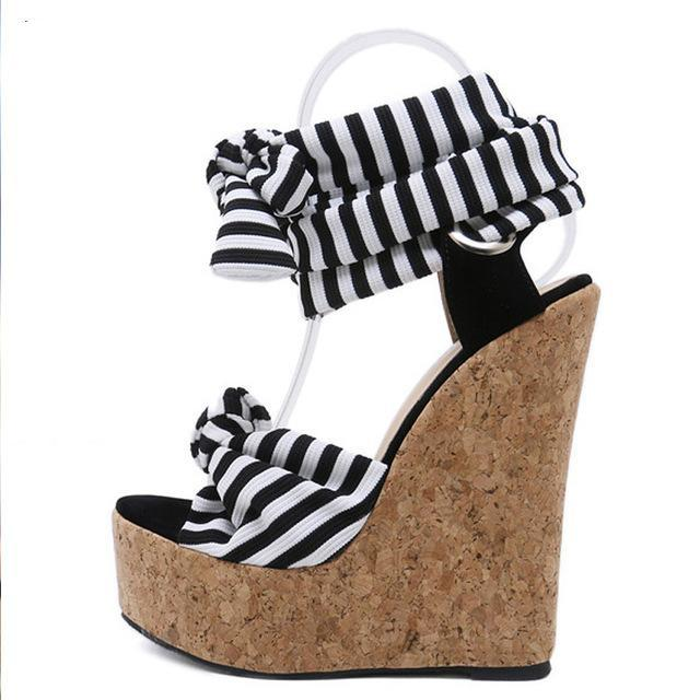 0eff1a88afc4 SALE Women s Beautiful Wedge Platform Island Sandals Nautical Stripe Gladiator  Ankle Lace Up Wrap Black White