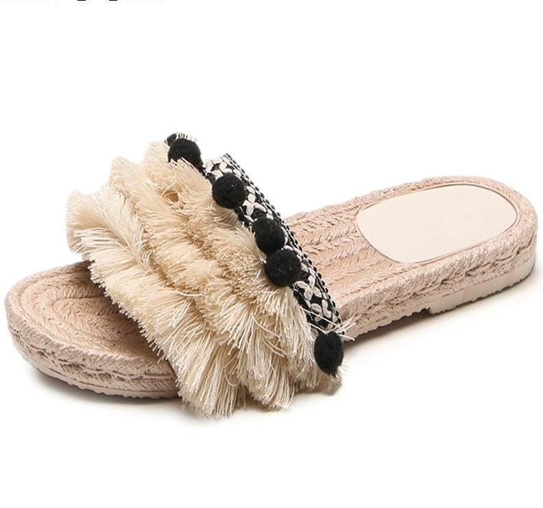 SALE Women's Boho Tassel Slip On Flat Beach Sandals Espadrille Fringe Pompom Open Toe Black Beige Flip Flop Slippers - FREE Shipping - Fashion-Beach.com