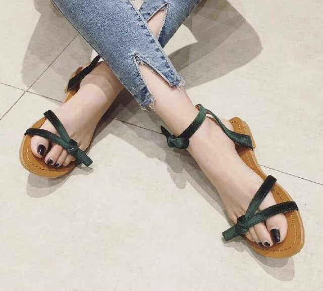 SALE Women's Dubai Velvet Style Tropical Sandals - Strappy Bow Open Tow Flat Summer Sandals - Green Pink or Tan - FREE Shipping On All Shoes - Fashion-beach.com
