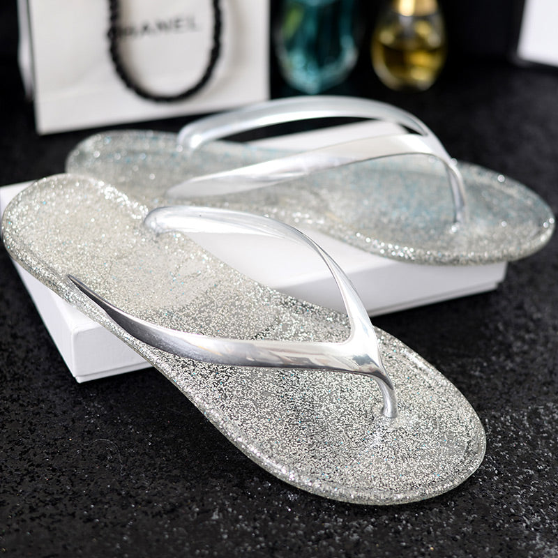 SALE Women's Beautiful Jelly Glitter Metallic Flip Flop Thong Sandals Blue Pink Gold Silver Glitter Zori Flat Shoes - Free Shipping - Fashion-Beach.com