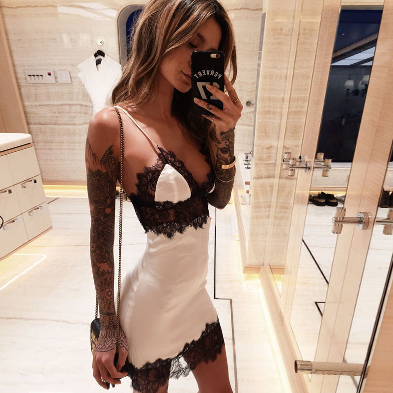 SALE Women's Sexy White & Black Lace Silky Cocktail Slip Dress - Spaghetti Strap Tropical Clubbing Holiday Short Mini Party Dress - FREE Shipping - Fashion-Beach.com