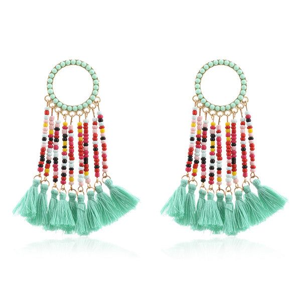 SALE Women's Beaded Long Boho Fashion Tassel Earrings Large Bohemian Dangle Charm Ethnic Earrings - FREE Shipping - Fashion-Beach.com
