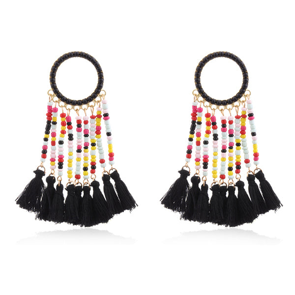 SALE Women's Beaded Long Boho Fashion Tassel Earrings Large Bohemian Dangle Charm Ethnic Black Red White Aqua Blue or Pink Earrings - FREE Shipping - Fashion-Beach.com