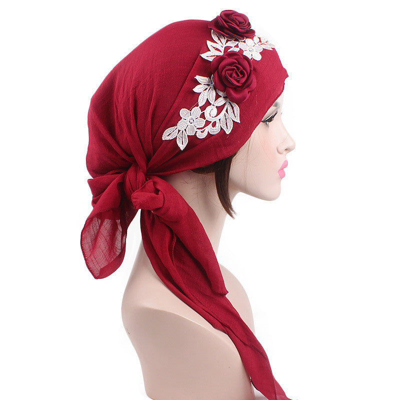 SALE Women's Beautiful Flower Boho Head Wrap - Floral Fashion Bandana Roses Lace Headband Cover - FREE Shipping - Fashion-Beach.com