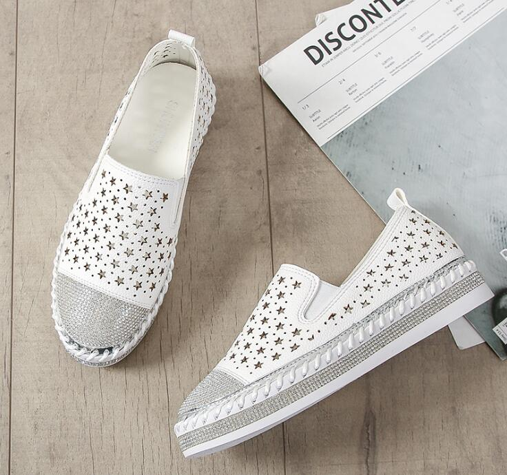 SALE Women's Fun Boho Chic White and Silver Star Loafers - Rhinestone Crystal Summer Flat Closed Toe Nautical Deck Shoes - Tropical Beach Walking Shoes - FREE Shipping - Fashion-Beach.com