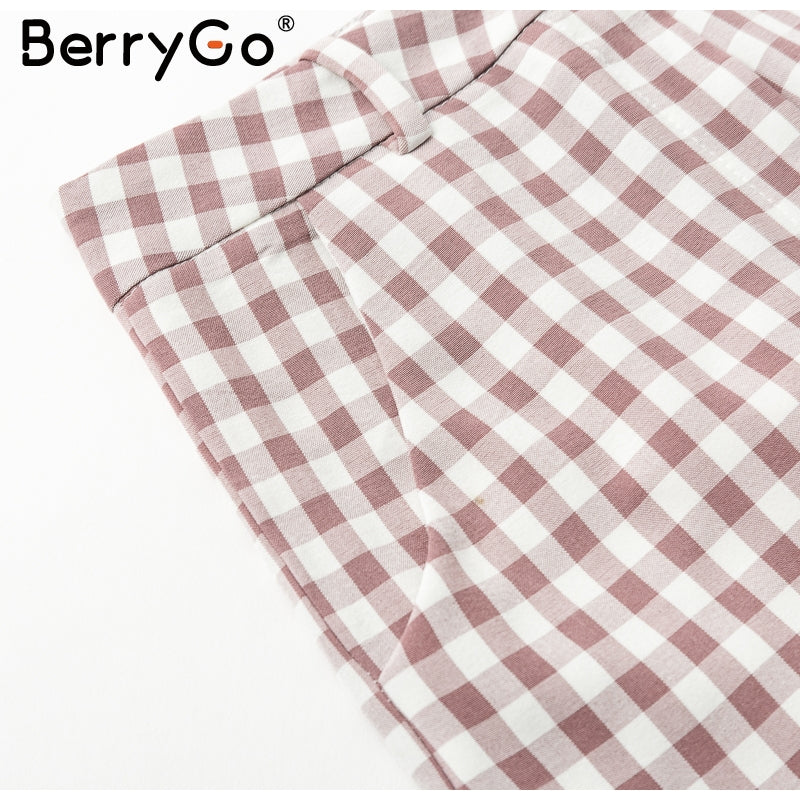 BerryGo 2018 Two piece set jumpsuit macacao Vintage plaid bow crop top jumpsuit romper Casual high waist summer playsuit overall