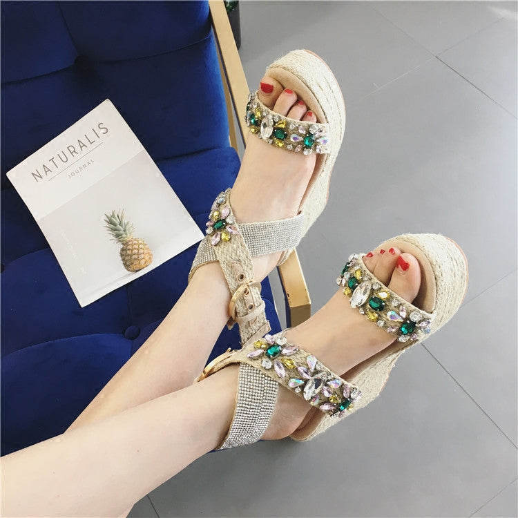 SALE Women's Moroccan Style Rhinestone Espadrille Wedge Sandals - Platform Tropical Crystal Open Toe Gold or Silver Heels - FREE Shipping On All Shoes - Fashion-Beach.com