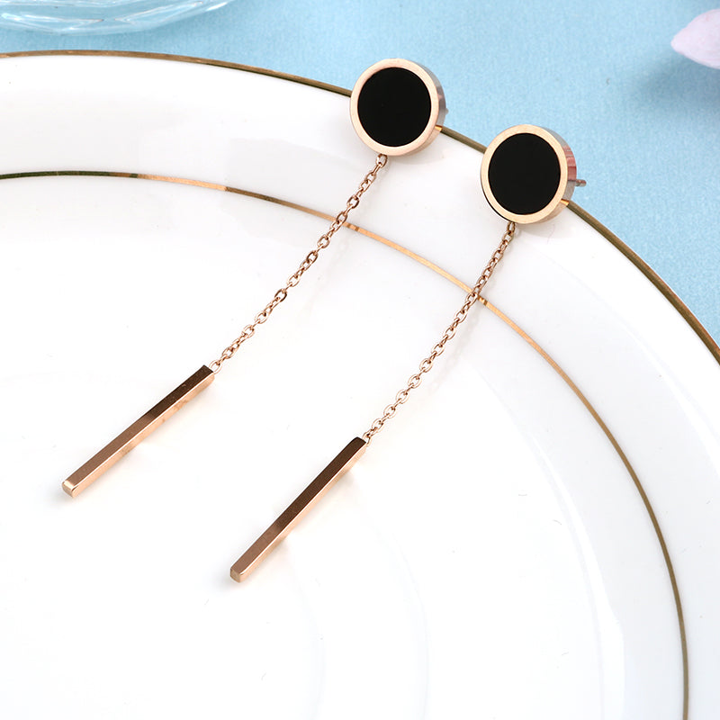 SALE Women's Beautiful Long Boho Chic Rose Gold Earrings Fashion Minimalist Geometric Dangle Black Chain Drop Down Earrings - FREE  Shipping - Fashion-Beach.com