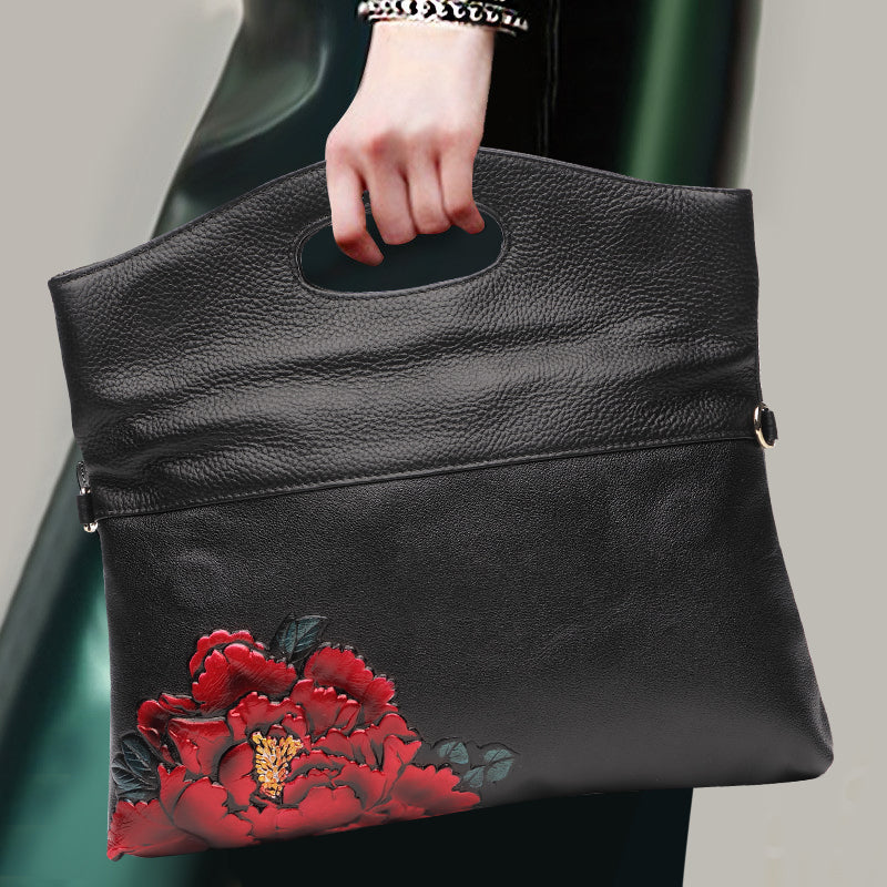 SALE Beautiful Genuine Black Leather Rose Clutch Purse Women's Envelope Style Fold Over Boho Chic Shoulder Bag Tote - FREE Shipping - Fashion-Beach.com
