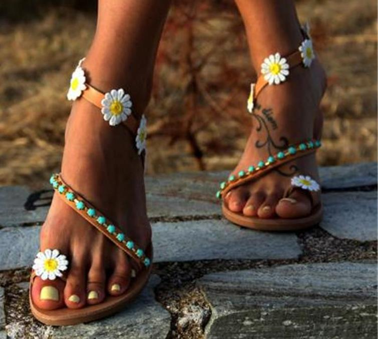 SALE Women's Boho Chic Daisy Flower Toe Strap Sandals - Ankle Wrap Bohemian Tribal Embellished Flat Summer Sandals - FREE Shipping On All Shoes - Fashion-Beach.com