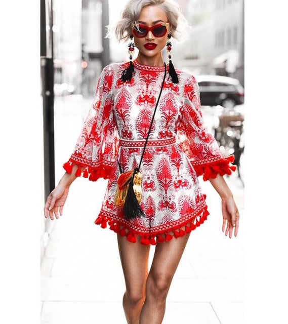 SALE Women's Beautiful Red Embroidered Tassel Boho Chic Jumpsuit Fringe Bohemian Style Shorts Onesie - FREE Shipping - Fashion-Beach.com