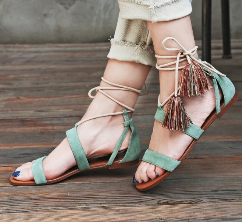 68d198d43bf5 SALE Women s Beautiful Genuine Leather Boho Chic Tassel Sandals - Green Flat  Open Toe Ankle Lace