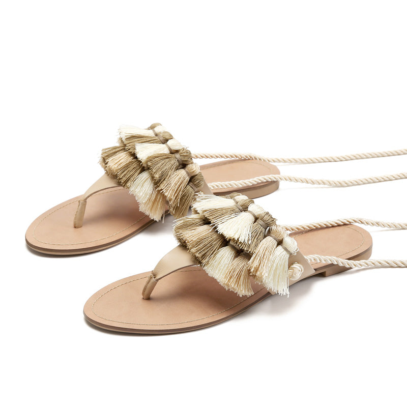 356364bd1f5 NEW Women s Beautiful Boho Chic Tassel Gladiator Sandals - Lace Up Ankle  Wrap Tie Fringed Flat