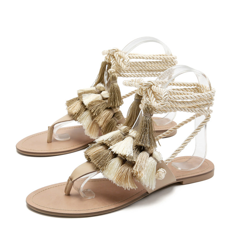 NEW Women's Beautiful Boho Chic Tassel Gladiator Sandals - Lace Up Ankle Wrap Tie Fringed Flat Luxury Nautical Resort Sandals - FREE Shipping - Fashion-Beach.com