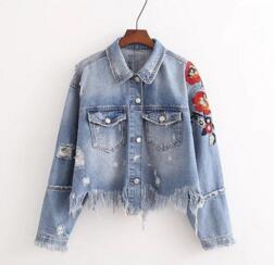 SALE Women's Fringe Boho Chic Denim Jacket - Sexy and Cute Embroidered Flower Tassel Grunge Hole Jean Coat - Bohemian Hippie Hipster Fashion Clothing - FREE Shipping - Fashion-Beach.com