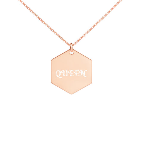 """Queen"" Engraved Hexagon Necklace"