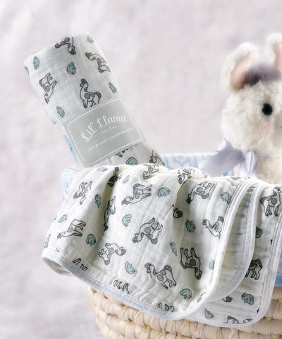 Llama Double-Woven Cotton Swaddling Blanket