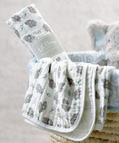 Elephant Double-Woven Cotton Swaddling Blanket