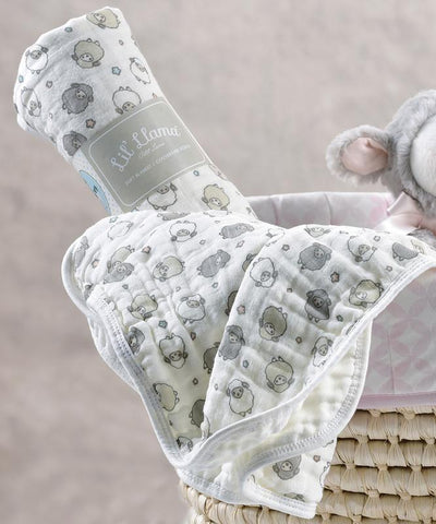Sheep Double-Woven Cotton Swaddling Blanket