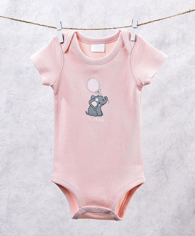 Baby Elephant Pink Cotton Onesie