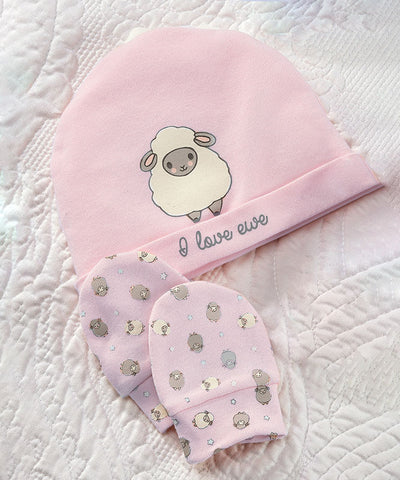 Sheep Cotton Baby Beanie Cap & Scratch Mittens