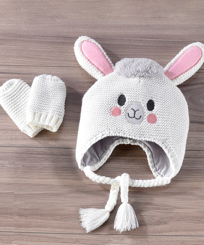 Knitted Cotton Llama Hat & Mitten Set