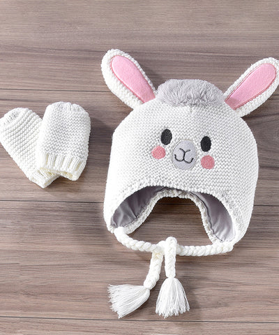 Knitted Cotton Elephant Hat & Mitten Set