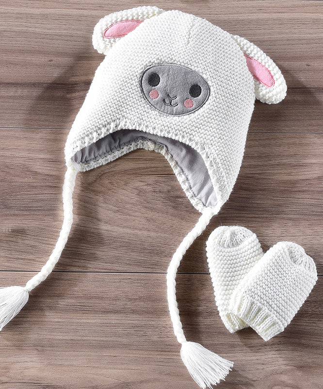 Knitted Cotton Sheep Hat & Mitten Set