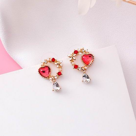 estore kart fashion new arrival beauty and care girls red diamond Crystal Love Heart Drop Earrings