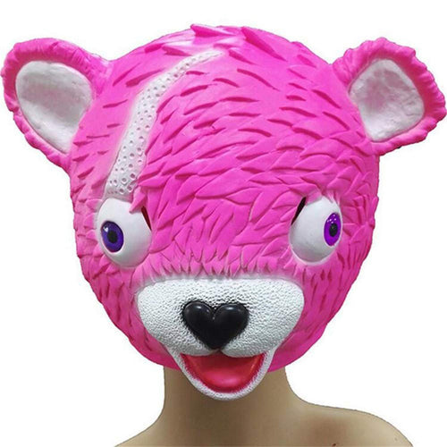 Fortnite BR Cuddle Team Leader Mask Cosplay Funny Animal Pink Bear Cute Latex Masks Helmet Halloween Party Props