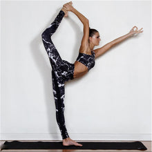 Load image into Gallery viewer, Lightning Marble Swag Fitness Running/Yoga Suit 2 piece Set