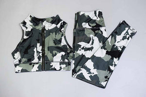 Front-Zip Camo Swag Fashion High-Waist Workout Suit
