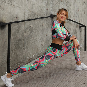 High Waist Breathe Colorblock Swag Compression Fit Suit