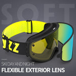 COPOZZ Ski Goggles with Magnetic Quick-change Anti-fog UV400 Night Skiing Goggles