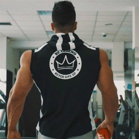 Be Legend, Never Give Up Bodybuilding Tank Hoodie