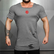 Load image into Gallery viewer, Muscleguys Brand Extended Long T Shirt Red Logo