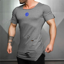 Load image into Gallery viewer, Muscleguys Ripped T shirt blue logo