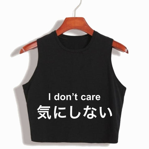 I Don't Care Swag Crop Top
