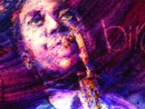"Fabulous 3 Dimensional Lit & Framed Painting of Jazz Legend Charlie ""Bird"" Parker"