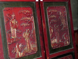 Pair of Decorative Antique Red Lacquered Panels from China
